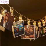 FENGRISE 10pc Photo Clip Led Lights Wedding Decoration Christmas Party Decorations Celebrations Wedding Events Party Home Decor