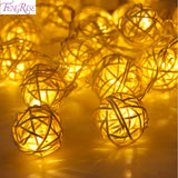 FENGRISE 20 Rattan Ball Led String Fairy Lights Christmas Tree Ornaments Xmas Decoration Warm White LED Lights Home Garden Decor