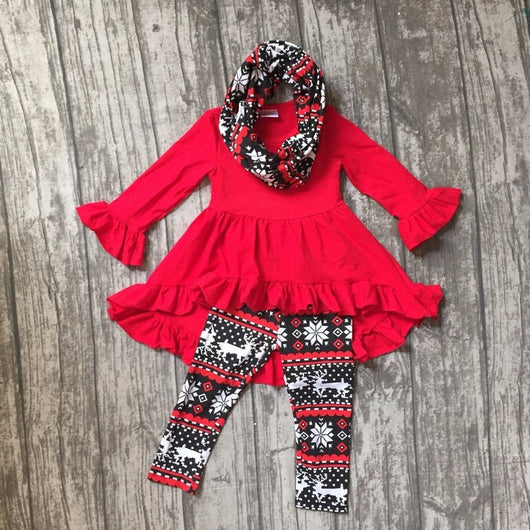Fall/winter 3 pieces scarf red Christmas top dress baby girls outfits clothes reindeer aztec snowflower cotton pant boutique kid