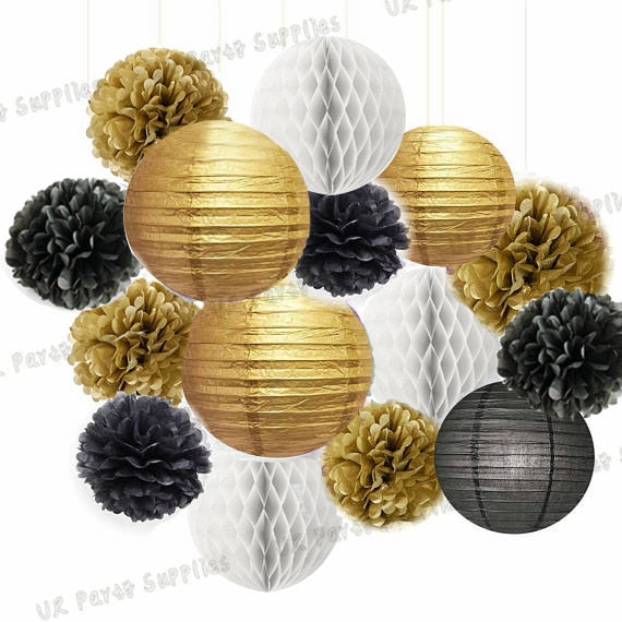 Free Shipping 1 sets (14-39pcs) Gold/Black/White Pom Poms & Lanterns honeycomb balls Party Kit Birthday DIY Hanging Decoration
