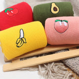 Funny Cute Banana Cherry Avocado Fruit Pattern Women Girl Cotton Loose Crew Socks Summer Japan Harajuku Yellow Designer Retro