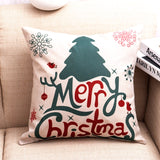 GZTZMY 1Pcs 45*45 Cm Happy New Year Christmas Decorations for Home Cartoon Elk Linen Decorative Pillows Cover Navidad Natal