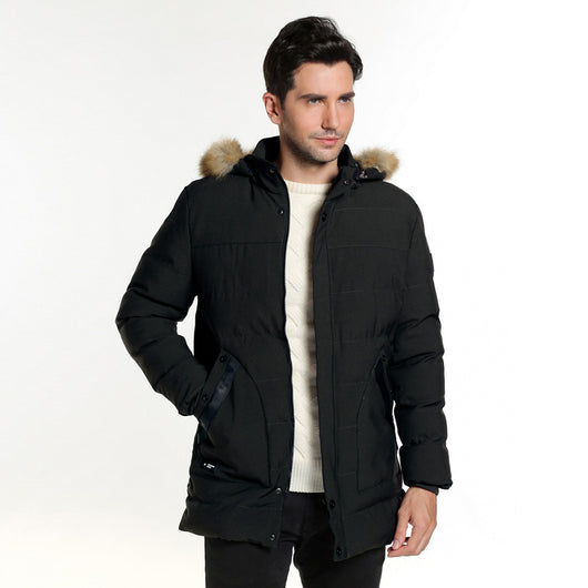 HEE GRAND 2018 Fur Hooded High Quality Men's Winter Padded Coat Long Style Male 3 Colors Warm Outwearing Coat MWM1785