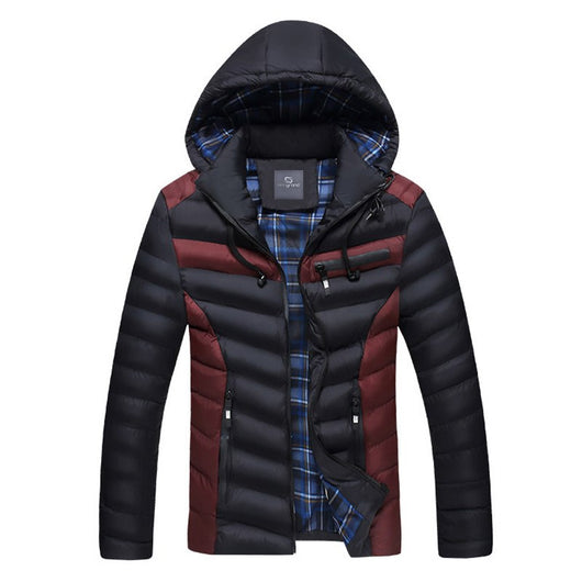 HEE GRAND Fashion Man Coats Warm Overcoat Patchwork Hooded Comfortable High Quality Male Winter Jacket MWM1651