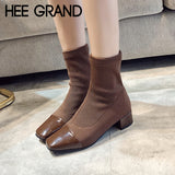HEE GRAND Knitting Sexy Winter Warm Ankle Boots Women Square Toe Shoes Woman Slip on Solid Ankle Boots Shoes Size 35-39 XWX6882