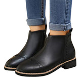 HEE GRAND Rough Toe Ankle Boots Female British Style Sewing Flats Autumn and Winter Women Boots   XWX6048