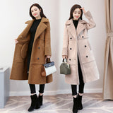 HEE GRAND Winter Lambskin Coat Female Coats Thick Flocking Jackets Ladies 2018 Autumn Double Breasted Warm Long Outwears WWM1706