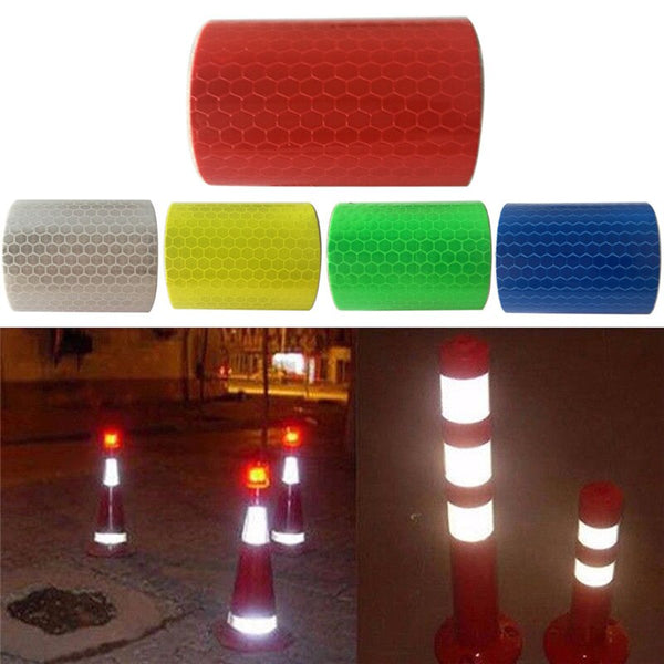 1pc New Security Caution Reflective Tape Warning Tape Sticker Self Adhesive Waterproof Pure Color Reflect Light Safety 5x100cm