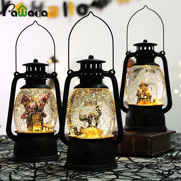 Halloween LED String Lights Lanterns Lamp Party Decor Supplies Haunted house/Black cat/Witch Small Oil lamp Artificial Flame Lig