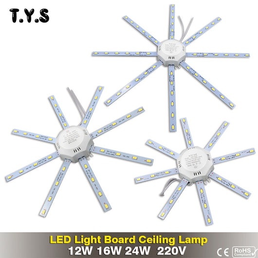 High Bright LED light Ceiling Lamp Energy Saving Lamp 24W 16W 12W 220V PCB Board Modified Light Source LED Bulb Plate Octopus