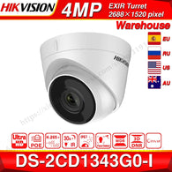 Hikvision Original DS-2CD1343G0-I POE Camera Video Surveillance 4MP IR Network Dome Camera 30M IR IP67 H.265+ 3D DNR