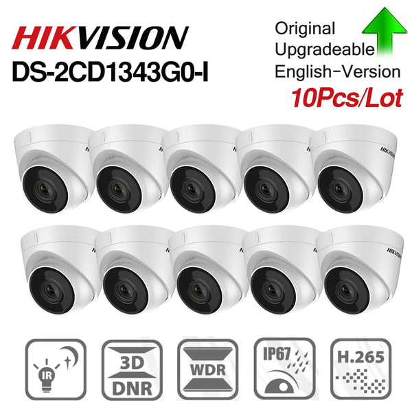 Hikvision original 4MP IP Dome Camera DS-2CD1343G0-I CMOS Network With POE Surveillance Camera IR30m 3D DNR defense 10pcs/lot