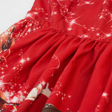 Himanjie Print plaid lace christmas dress women o-neck short sleeve fit flare patchwork slim midi elegant party red dresses