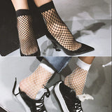 Hot Sale Female Black White Sexy Wild Fishnet Hollow Mid Calf Fashion Short Socks Girl Casual Socks Women's Clothing Accessories