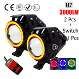 Huiermeimi 2PCS 125W Motorcycle Headlight 3000LMW Motorbike spotlight U5 U7 LED Moto Driving car Fog Spot Head Light Lamp DRL