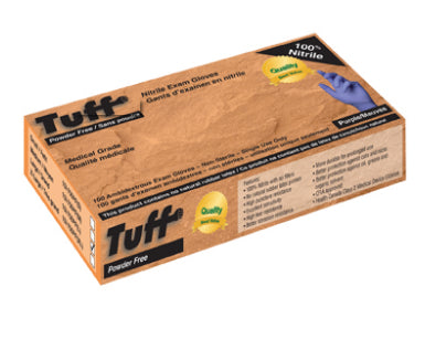 TUFF PURPLE 3MIL EXAM NITRILE GLOVES, MEDICAL GRADE (100 gloves per box) INF15I-750PF. CURBSIDE PICK UP AVAILABLE