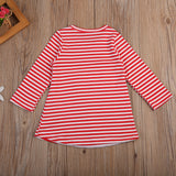 Kids Girls Christmas Stripes Dress Lovely Girls Nightdress Santa Xmas Cute Striped Long Sleeve Casual Sweet Dresses