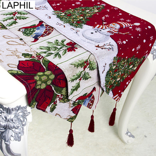 LAPHIL Christmas Flower Snowman Table Runner Xmas Party Dinner Table Cloth Cover Merry Christmas Decorations for Home Navidad