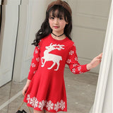 LILIGIRL Long Sleeve Christmas Elk Dress for Baby Girls Kint Sweater Clothes Children Elegant Print Deer Princess Party Dresses