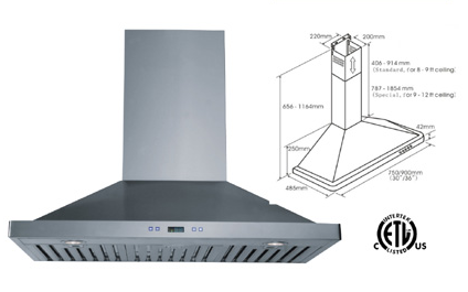 Range hood LOTUS BRAND - LTS-01T-36    Delivery Free