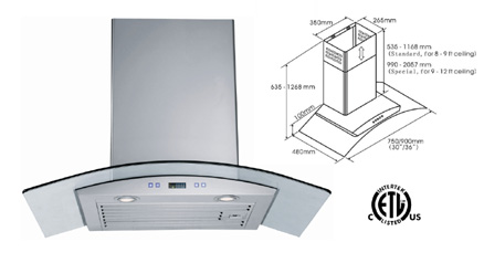 Range Hood LOTUS BRAND - LTS-02G-30 Delivery Free