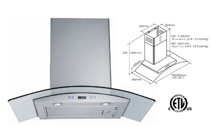 Range Hood LOTUS BRAND - LTS-02G-36   CURBSIDE PICK UP AVAILABLE
