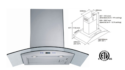 Range Hood LOTUS BRAND - LTS-02G-IS  CURBSIDE PICK UP AVAILABLE