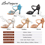 Ladingwu Dance Shoes Latin Women Rhinestone Salsa Shoes Dance Ballroom Party Profession Dance Shoes Heel 9cm Glitter Satin