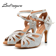 Ldaingwu New Golden/Silver Shoes For Ballroom Dancing Woman Flash Cloth Collocation Shine Rhinestone Latin Dance Shoes Women's 1