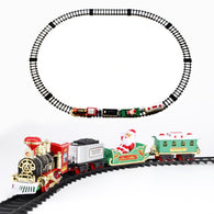MEOA Christmas Train Battery Operated Railway Rail Train Electric Toys Railway Car with Sound&Light Track Set Educational Toys
