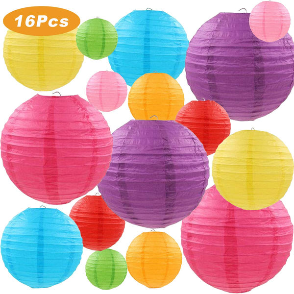 METABLE 16 Pcs Colorful Paper Lanterns Chinese/Japanese Paper Hanging Decorations Ball Lanterns Lamps for Home Decor, Weddings