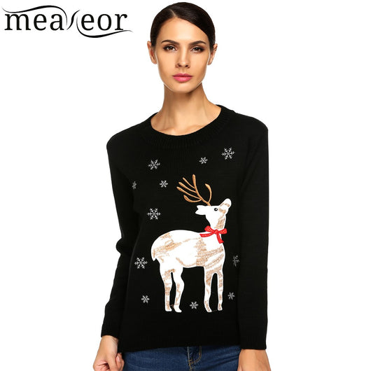 Meaneor Ladies Women Autumn/ Winter Christmas Sweater Casual O-Neck Long Sleeve Animal Applique Elk Deer Slim Sexy Warm Sweaters