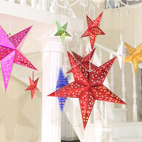 New Arrival 1Pcs/lot Multi Colors 3 Sizes 3D Star Paper Lantern Lampshade Wedding Home/Pub/XMAS Hanging Christmas Decor Light