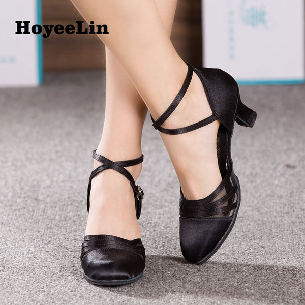 New Arrival Women's Ballroom Party Modern Dance Shoes Satin/PU Waltz Tango Dancing Heels Indoor Closed Toe Salsa Shoes 1