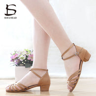 New Ballroom Tango Latin Dance Shoes High Quality Latin Woman Dancing Shoe Wholesale Dance shoes for girls Low Heel Salsa Sandal 1 2