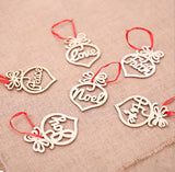 New Christmas accessories wooden love tree pendant hollow double-sided scene layout dress up a pack of 6