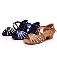 New Kids Girls Rhinestone Ballroom Party Latin Dance Shoes Sandals Low Heels Tango Salsa Dancing Training Shoes