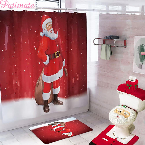PATIMATE Santa Claus Bathroom Shower Curtain Merry Christmas Decoration for Home Christmas Ornaments 2019 Xmas Navidad New Year