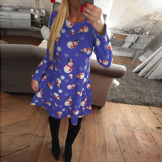 Plus Size S-5XL Winter Christmas Party Dress 2017 Women Long Sleeve O-Neck Casual Print Dresses Cute Cartoon New Year Clothing
