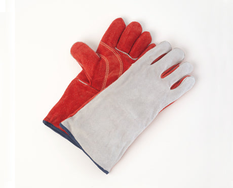 PREMIUM RED/GREY SPLIT LEATHER WELDERS GLOVES PAIR