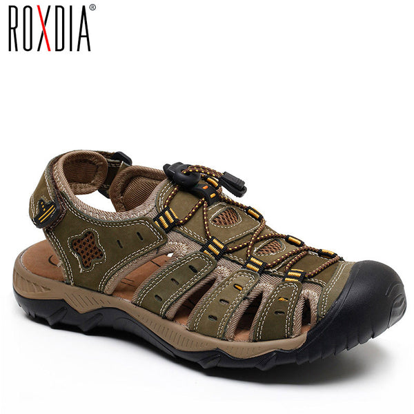 ROXDIA New Fashion Summer Beach Breathable Men Sandals Genuine Leather Men's Sandal Man Causal Shoes Plus Size 39-48 RXM007