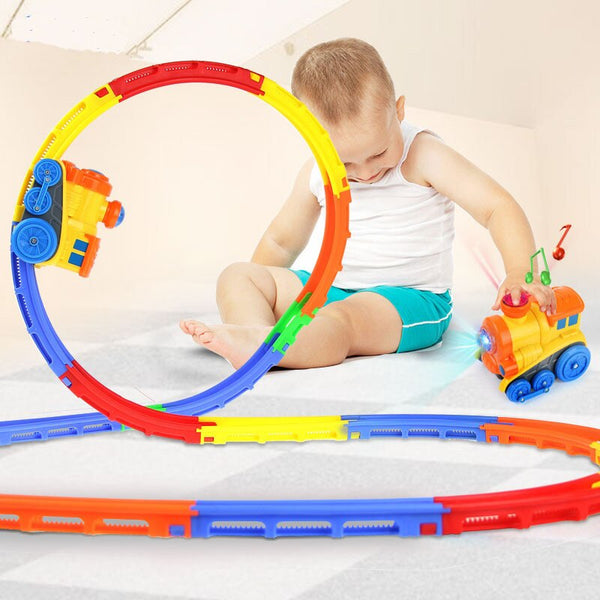 Rolling Electrical Track Train Boys Roller Coaster Toys Music Light flip Train Parent-child toys Birthday Christmas gifts