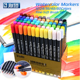 STA 80Colors Set Water Based Ink Sketch Marker Pens Twin Tip Fine Brush Marker Pen For Graphic Drawing Manga Art Supplies