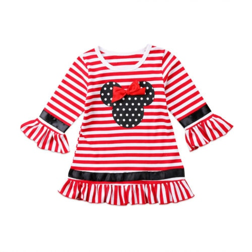 5119819b6c60 Sale Casual Toddler Kids Girl Christmas Dresses Flare Sleeve Bow Stripe  Mini Party Tutu Dress Clothes