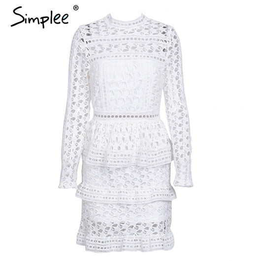 376e075b2ce1 Simplee Elegant hollow out ruffle lace dress Women vintage long sleeve