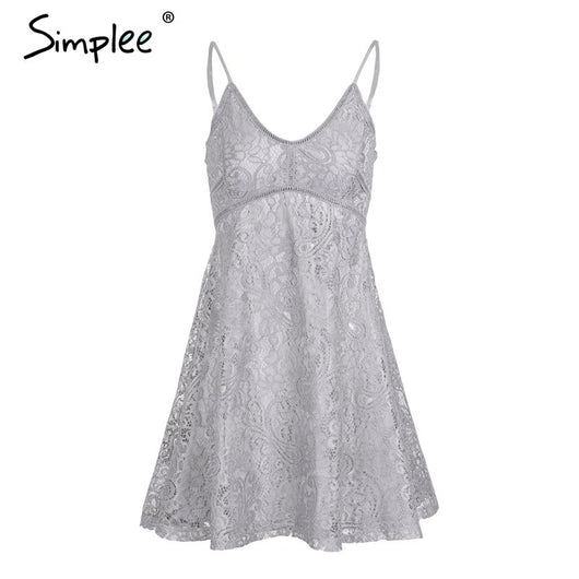 Simplee Sexy v neck strap lace dress women Elegant christmas party mini dresses female Autumn winter fashion robe femme vestidos