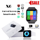 Sports Bluetooth Smart Watch Men X6 Curved Screen with Camera Support SIM Card Whatsapp Facebook For iPhone Android smartwatch