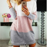 Stripe Patchwork Women Sweater Dresses Girls Hoodies Dress Casual Long Sleeved Sweater Mini Dress Party Dress  GV326