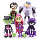 Teen Titans Go Robin Beast Boy Raven Cyborg Action Figures Toys Brinquedo Toy Girl Boy Christmas Gift 7pcs/set