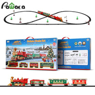 UMW Deluxe Train Set with Lights and Sounds Railway Tracks Christmas Series Electric Rail Car Plastic Children's Small Train Toy